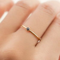 14k gold tiny black diamond ring, dainty black diamond stacking ring, 14k rose gold, white gold option, dal-r101-2mm-bdia
