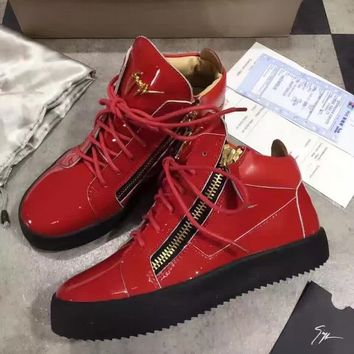 Giuseppe Zanotti Gz Tylor Red Patent Leather High-top Sneaker