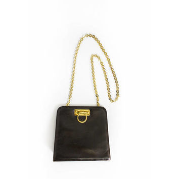 Vintage FERRAGAMO GANCINI Purse - Black Leather Gold Chain 2 Way Designer Clutch Bag 1980s