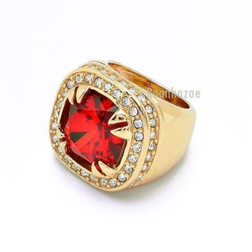 Mens Big Chunky 14k Gold Plated Iced Out Rich Gang Ruby Rapper Ring Dr012rg