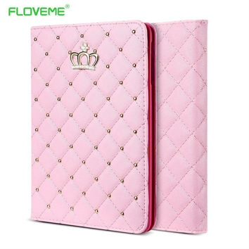 FLOVEME Book Cover For iPad Mini4 Case Lovely Fashion PU Leather Cases For iPad Mini 4 Bling Crown Cute Stand Holder Tablet