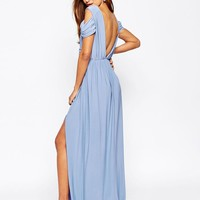 ASOS | ASOS WEDDING Drape Cold Shoulder Maxi Dress at ASOS