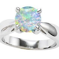 Original Star K(tm) 7mm Round Created Opal Engagement Ring in 925 Sterling Silver Size 7: Jewelry: Amazon.com