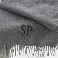 Personalized Grey Lambs' Wool Scarf