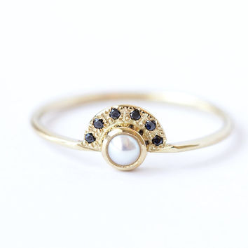Pearl Engagement Ring with Black Diamonds Crown - 18k Solid Gold