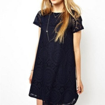 Ladies Vintage Bohemian Short Sleeve Lace Dress Bottoming Dress Loose Plus Size S-XXXXL [7672020614]