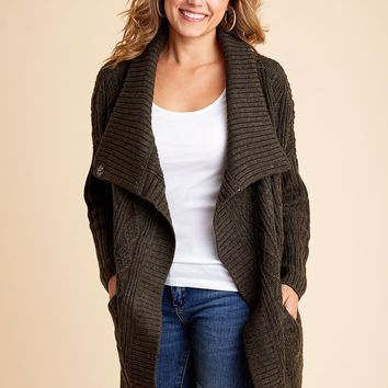 RD Style Cable Cardigan Sweater Coat