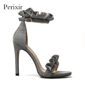 2018 New Summer Sandals Women Shoes Extreme High Heels Fabrics Ankle Buckle Strap Ladies Sandals Sliver Gold Sandalia Feminina