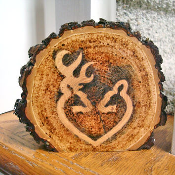 Rustic Wedding Cake Topper Deer Couple Wood Burned Heart Wood Slice
