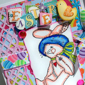 Easter Rabbit Card, Whimsical Happy Easter Hand Stamped Card, Painted Glitter, Chicks,  Flowers & Pastel Easter Eggs