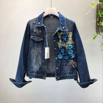 Trendy 2018 spring and Autumn Woman Flower Graffiti Denim Jacket Loose Vintage Single Breasted Long Sleeve Jean Jacket Outerwear AT_94_13