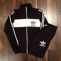 Adidas Fashion Drawstring Sport Gym Set Two-Piece Pants Coat Sportswear