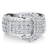 Sterling Silver 925 Cubic Zirconia CZ Buckle Bold Fashion Ring #r603