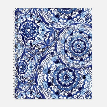 Delft Blue Mandala Pattern Notebook, Waterproof Cover, Mandalas Notebook or Journal, Office Supplies, School Supplies, College Ruled