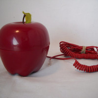 Vintage Red Apple Push Button Novelty Phone
