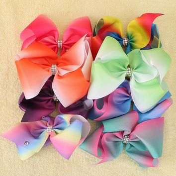 8 Inch Extra Large Rainbow Bow Clip Boutique Grosgrain Rhinestone Hair Ribbon Bows Barrettes Alligator Clips Hair Accessories