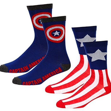 Marvel Captain America Mens Casual Crew Sock Set Pack of 2