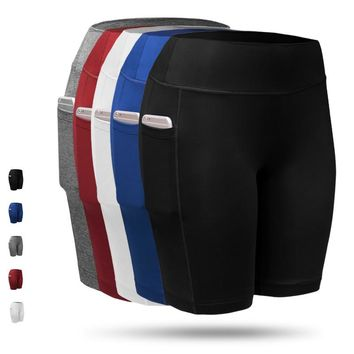 Quick Dry Sport Shorts With Pockets Girls Running Fitness Gym Pants Shorts