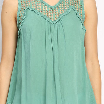 Shoulder Lace Detail Sleeveless Top