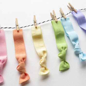 Elastic Hair Ties - Rainbow Pastel - Set Of Six - Easter Spring Tones