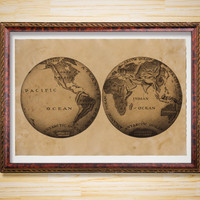 Rustic decor Geography poster Map print