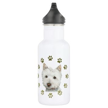 Cute West Highland White Terrier Dog and Paws 532 Ml Water Bottle
