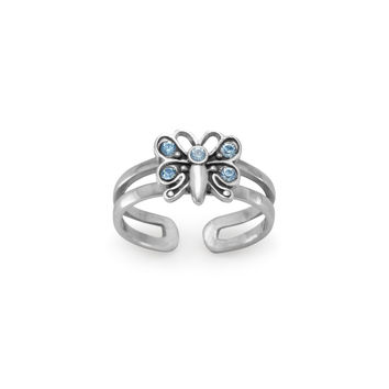Crystal Butterfly Toe Ring in Sterling Silver