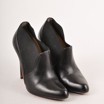 AUGUAU Black Elastic Trim Pointed Toe Leather Ankle Booties