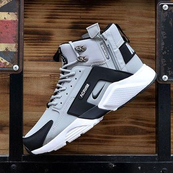 DCCKGV7 Best Online Sale Nike Air Huarache X Acronym City Customise MID Leather Sport Shoes Grey Black White
