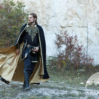 "Medieval Elven Prince Fantasy Lined Black Cloak ""Knight of the West"" king cloak lined cloak elven cloak"