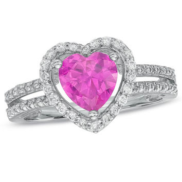 7.0mm Heart-Shaped Lab-Created Pink Sapphire and White Sapphire Heart Frame Ring in Sterling Silver