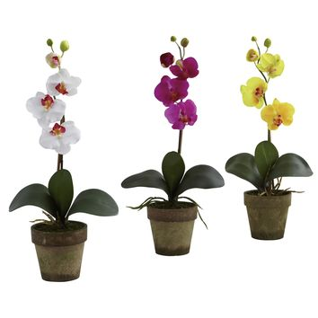 Artificial Flowers -Potted Phalaenopsis -Set Of 3 Arrangement Silk Flowers