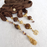 Brown Jewelry Scarf,Turkish Jewelry,Scarf Necklace,Gold Jewelry,Turkish Silk Necklace,Elegance Scarf,Feminine,Gift for Her,Mother Day Gifts