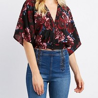 Floral Dolman V-Neck Top