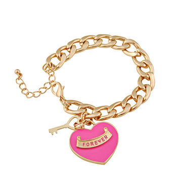 Gold Plated with Pink Heart Bracelet