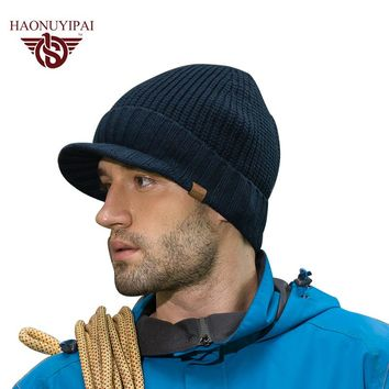 New Arrive Winter Men Knitted Hats Cotton Acrylic Brim Caps Outdoor Ski Earflap Beanie Skullies Cap Warm Christmas  A046