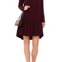 Burgundy Silk Crepe Bow Neck Dress