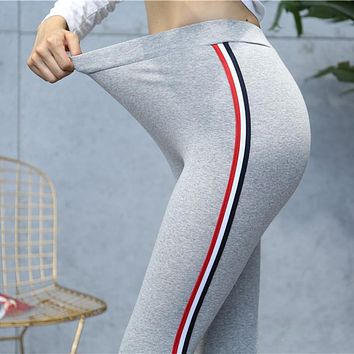 Striped Cotton Leggings High Quality Side stripes Women Casual Legging Pant Plus Size S-5XL High Waist Fitness Leggings Plump Female