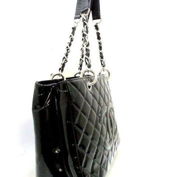 Auth CHANEL Matelasse Black Patent Leather Tote Bag