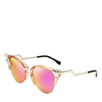 Fendi Crystal Embellished Mirrored Cat Eye Sunglasses | Bloomingdales's