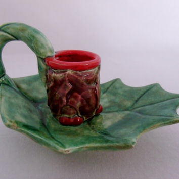 Holly Berry Leaf Candle Holder Hand Painted Signed SW 1984 Christmas Winter Decoration