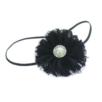 Baby/Toddler Vintage Lace & Pearl Flower Skinny Headband