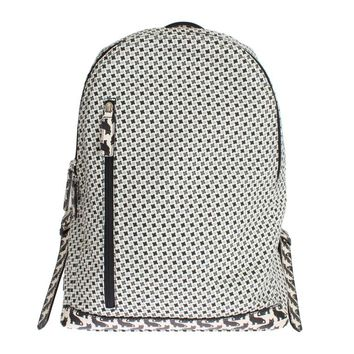 White Canvas Leather Cat Pattern Backpack