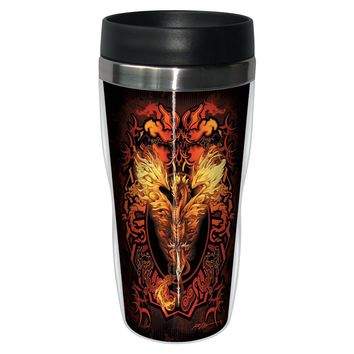 Flame Blade Travel Mug - Premium 16 oz Stainless Lined w/ No Spill Lid