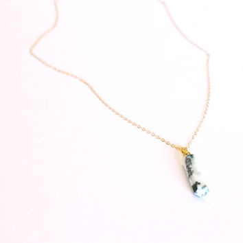 Green Tree Agate Point Necklace - 14k Gold Fill Necklace - Natural Stone - Spike Necklace - Green Necklace - Layering Agate Jewelry - Thin