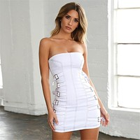 Women Solid Color Fashion Metal Buckle Tight Sleeveless Strapless Mini Dress