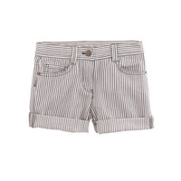 GIRLS' ROLL-UP DENIM SHORT IN RAILROAD STRIPE