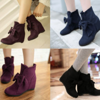 Womens Charming Bow Ankle Wedge Boots