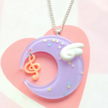 Pastel Purple Fairy Kei Moon Necklace With Kawaii Angel Wing and Music Note, Magical Girl Moon Keychain, Mahou Kei, Resin Moon Bag Charm