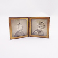Vintage Miniature Folding Picture Frame, Compact Two Brass Frame, Leather Covered